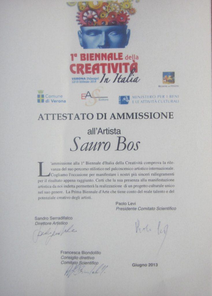 attestato amissione biennale di verona 2013