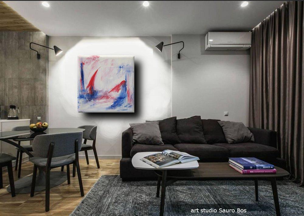 quadro astratto per soggiorno 120x120x4  sauro bos