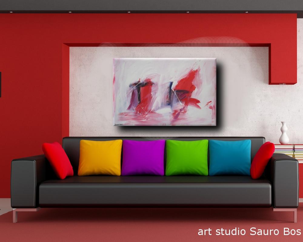 quadro astratto per soggiorno rosso e nero  sauro bos