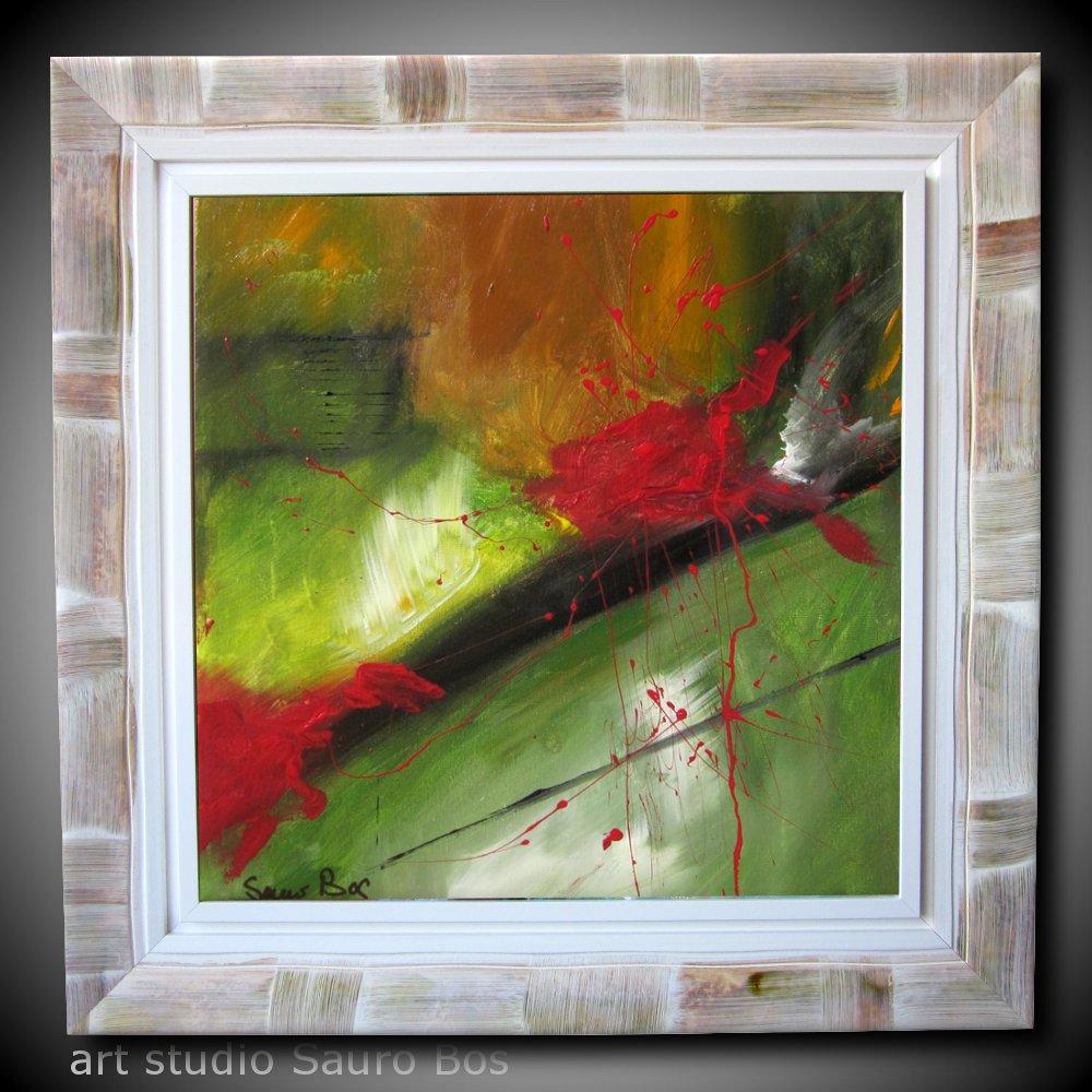 Quadro moderno con cornice olio su tela sauro bos for Cornice per quadro