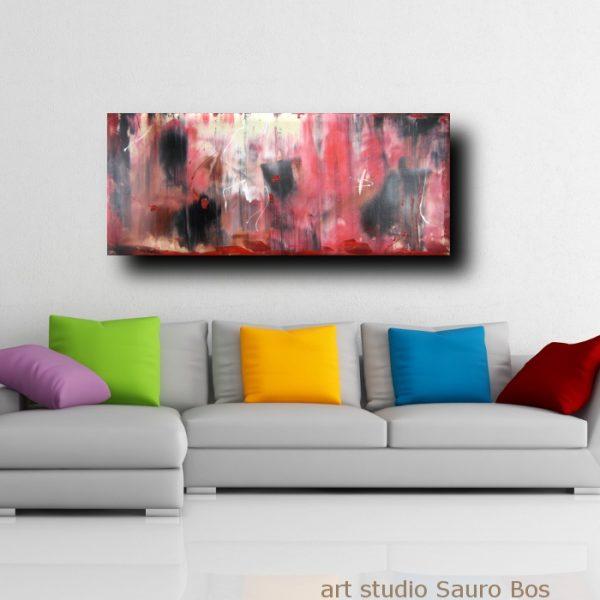 Quadri astratti informali per soggiorno rosso e nero for Quadri astratti moderni verticali