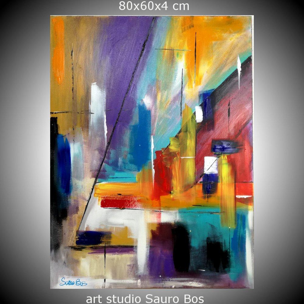 Quadri astratti colorati geometrici sauro bos for Quadri su tela astratti