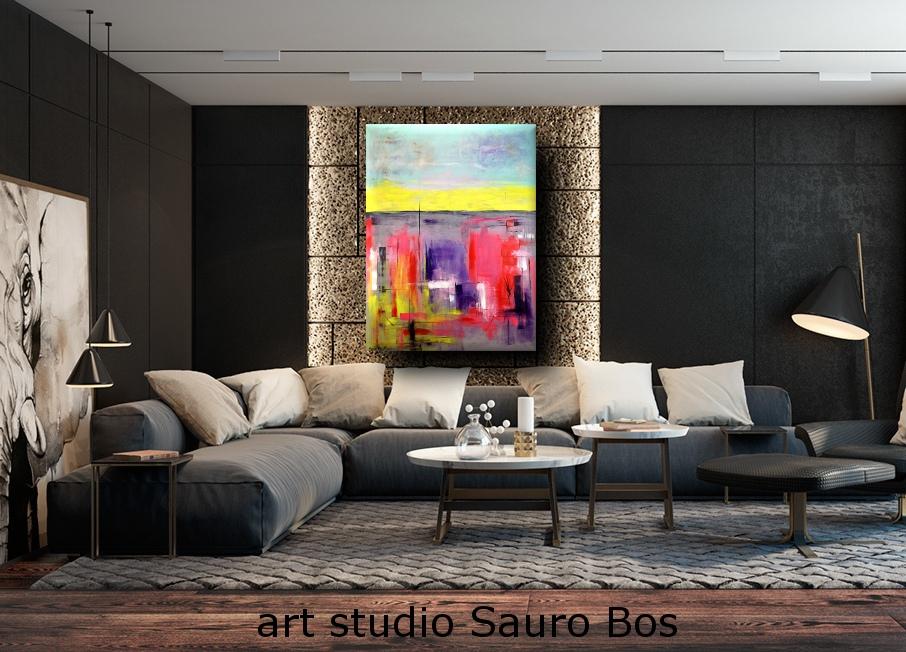 quadro moderno colorato per soggiorno 170x130  sauro bos