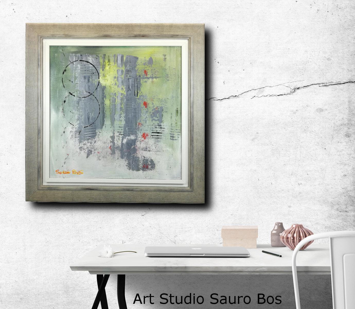 Quadro astratto moderno con cornice sauro bos for Cornice per quadro