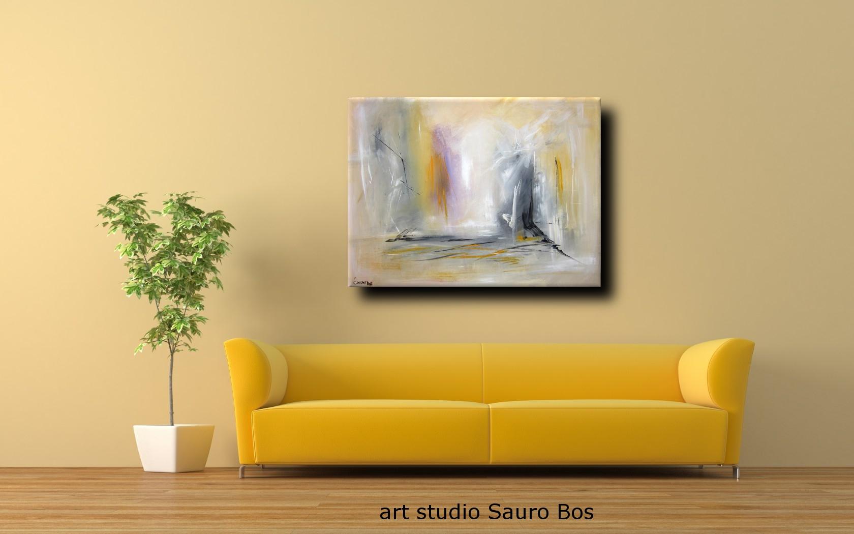 Dipinto astratto per soggiorno ufficio sauro bos - Quadri per sala da pranzo ...
