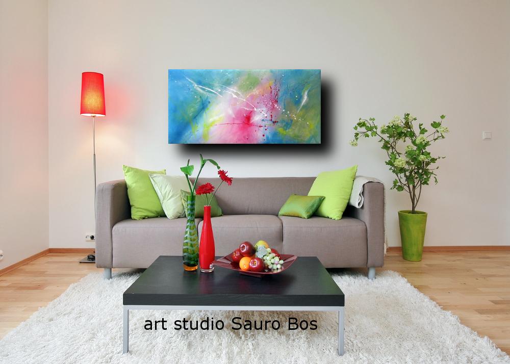 Dipinto astratto moderno colorato sauro bos for Quadri moderni per arredamento soggiorno
