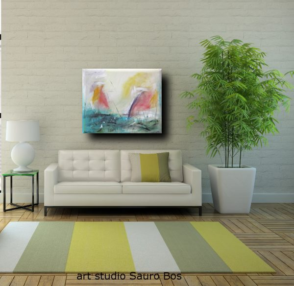 leveledivverde 600x584 - dipinto astratto per soggiorno