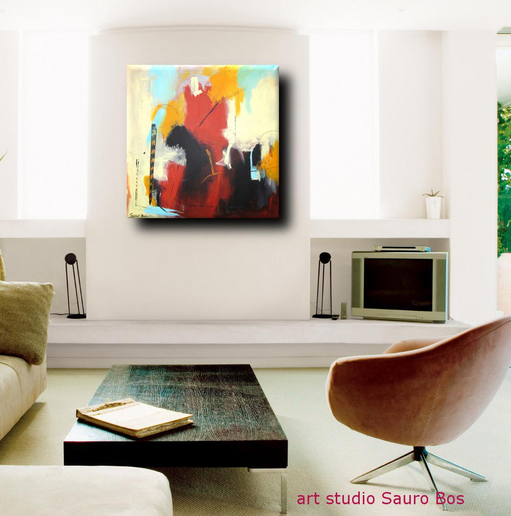 quadro astrattocapriccio living - quadro astratto moderno quadrato