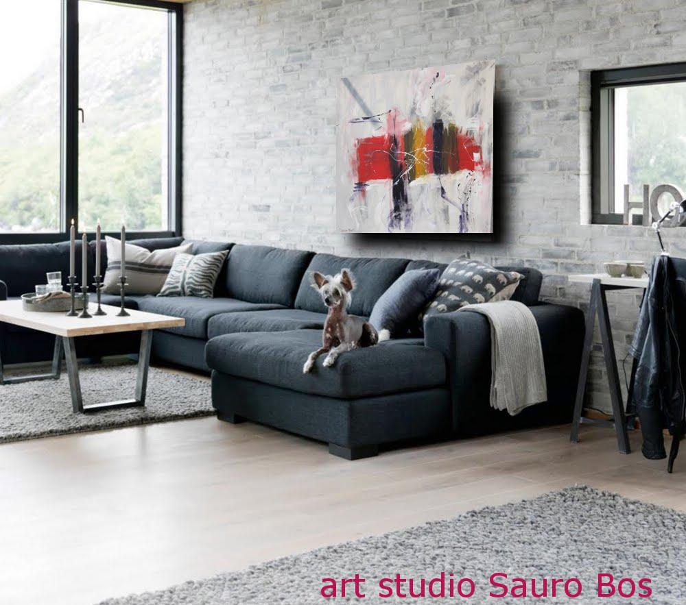 Quadro astratto moderno quadrato sauro bos for Immagini soggiorno moderno