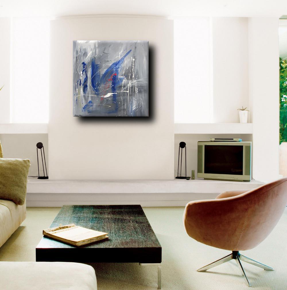 quadro astratto per soggiorno 100x100x4   sauro bos