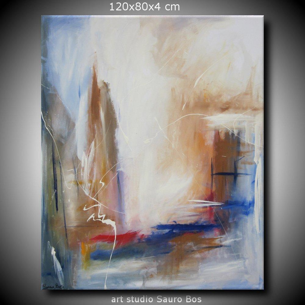 Quadro astratto per soggiorno rosso e marrone sauro bos for Tele astratte dipinte a mano