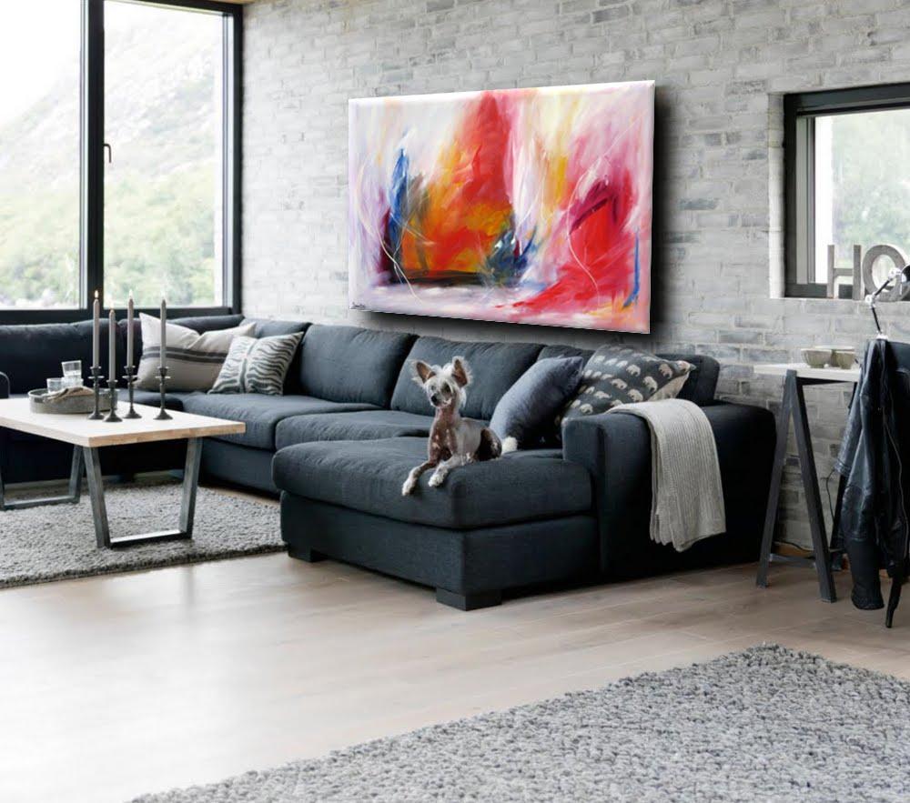 quadro astratto per soggiorno rosso e bianco | sauro bos