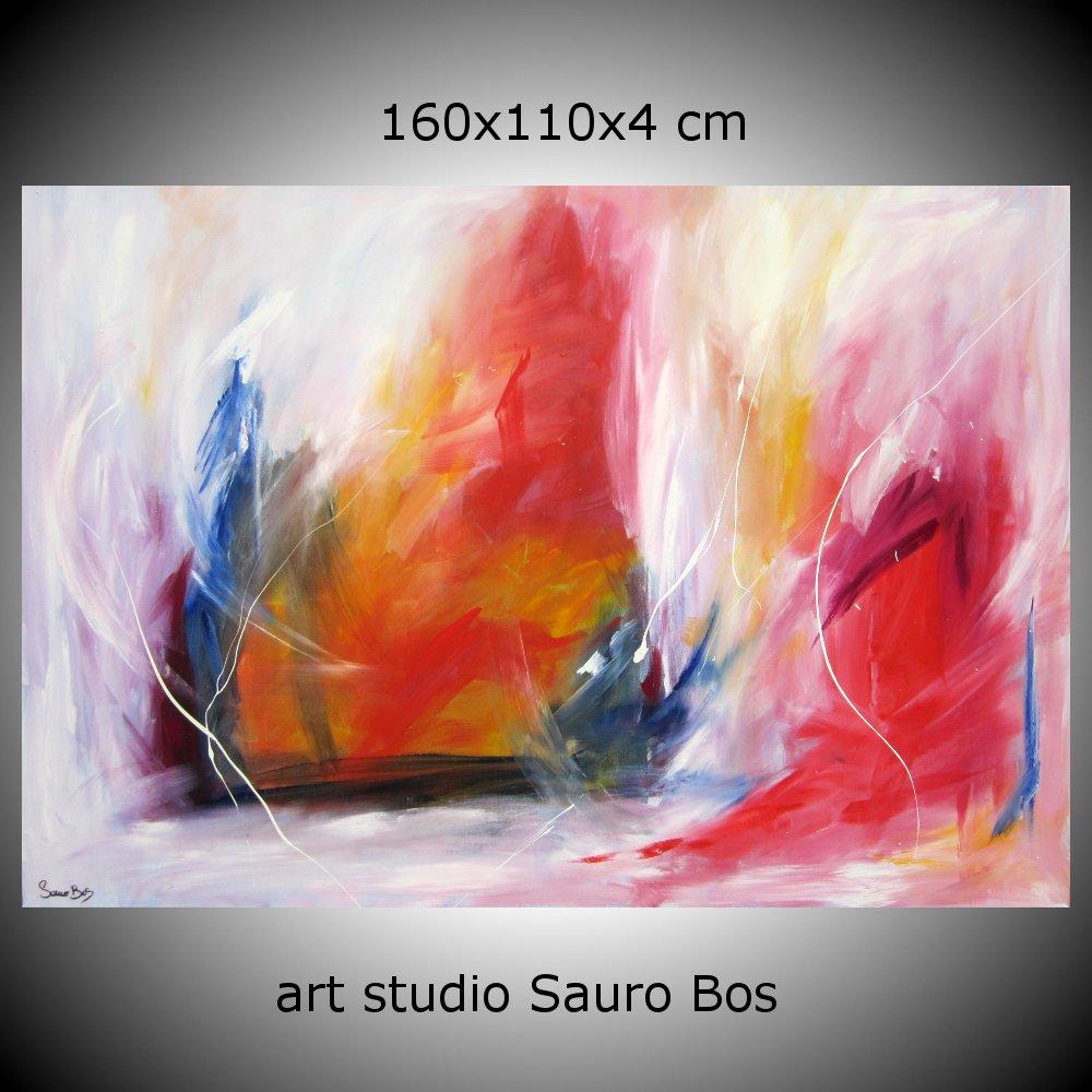 quadro astratto flew 160x110 - quadro astratto per soggiorno rosso e bianco