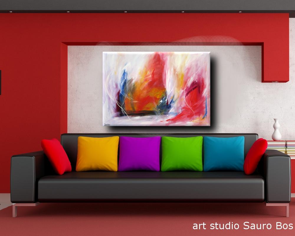 quadro astratto flewdiv - quadro astratto per soggiorno rosso e bianco