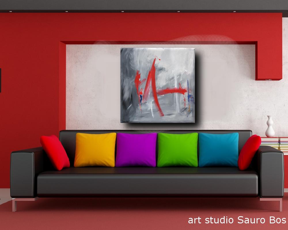 quadro astratto per soggiorno 100x100 | sauro bos