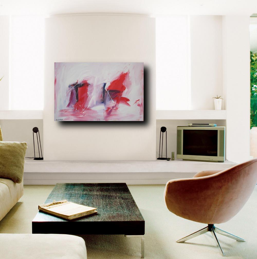 quadroastratto explained - quadro astratto per soggiorno rosso e nero