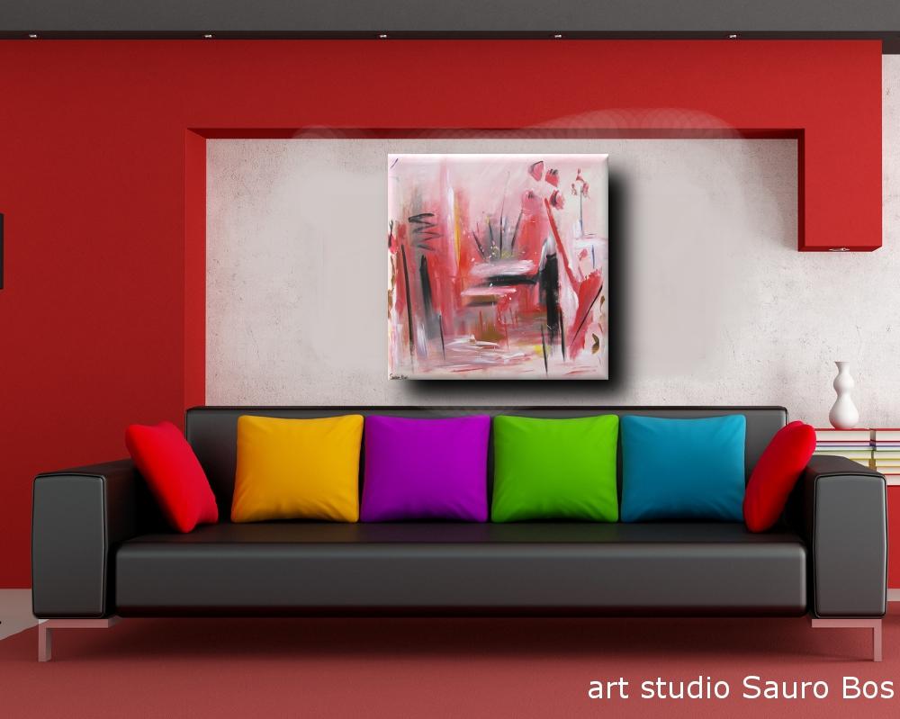 supply quadro astratto rosso nero - quadro astratto per soggiorno 100x100x4 rosso