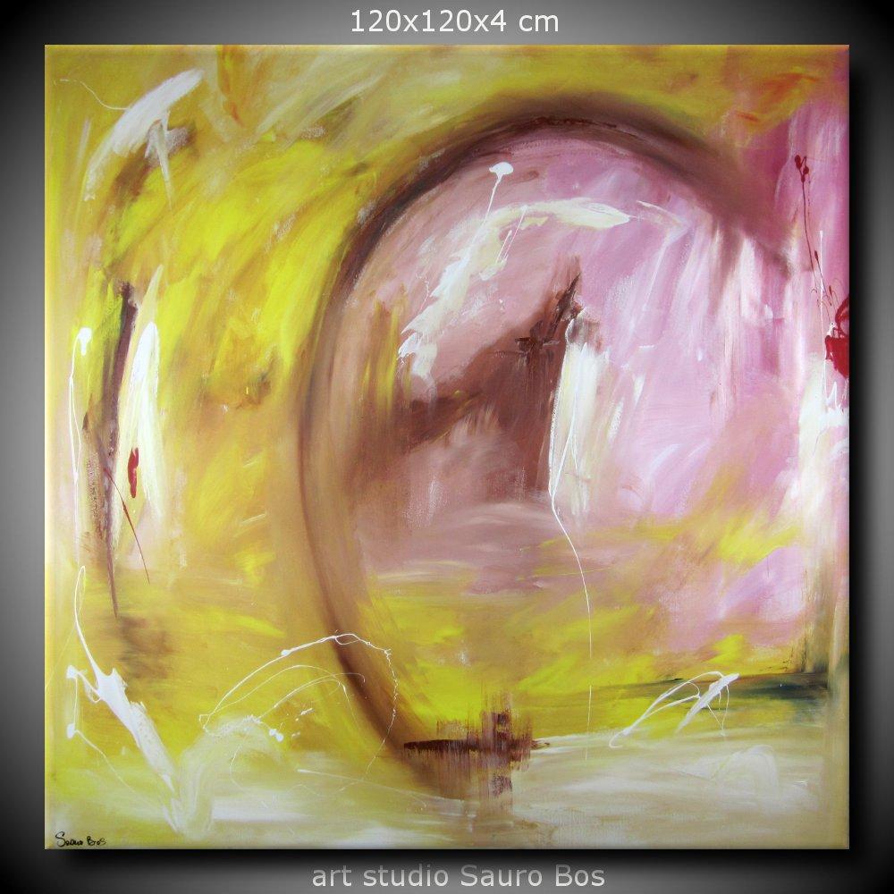abbraccio quadro astratto sauro bos 1 - quadro astratto moderno quadrato olio su tela 120x120