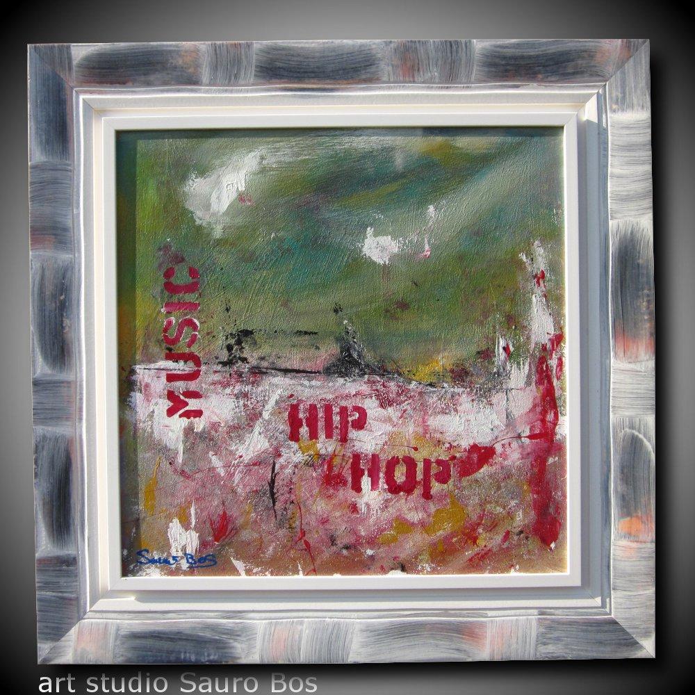 hip hop - quadro astratto moderno con cornice olio