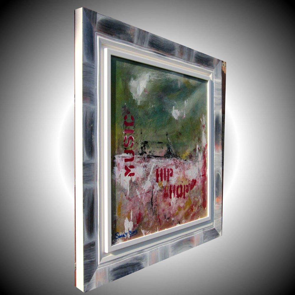 hip hopdx - quadro astratto moderno con cornice olio