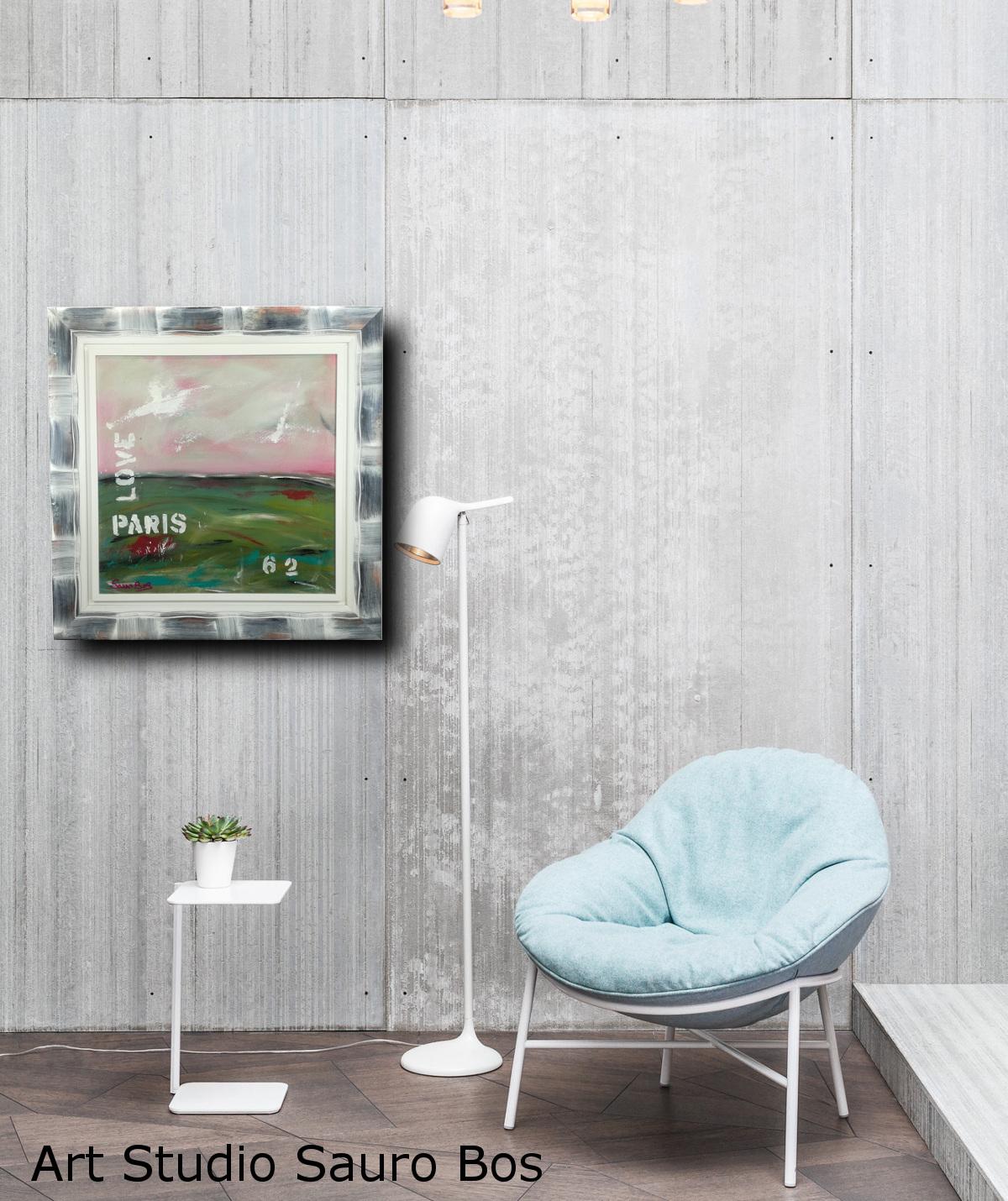 love paris interno - quadro  moderno con cornice olio su tela