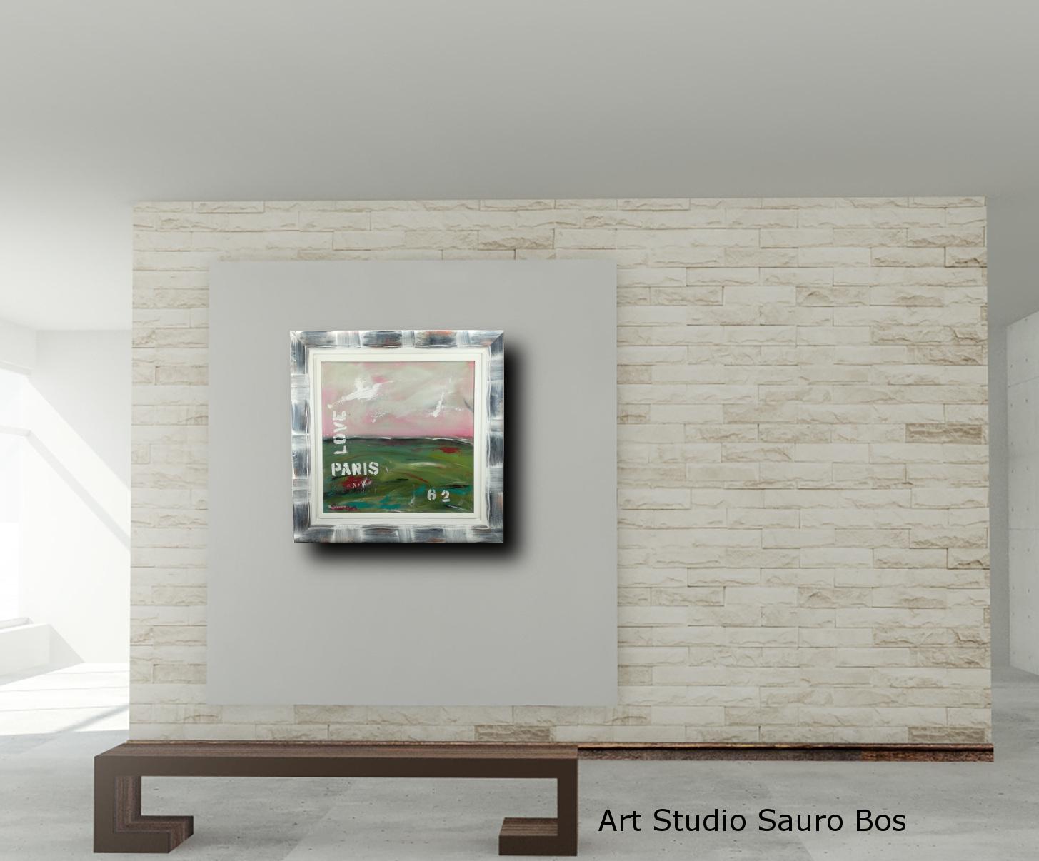 love paris panca - quadro  moderno con cornice olio su tela