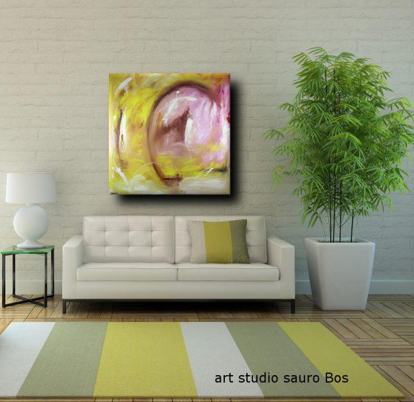 quadri astratti abbraccio 120x120 600x583 - quadro astratto moderno quadrato olio su tela 120x120