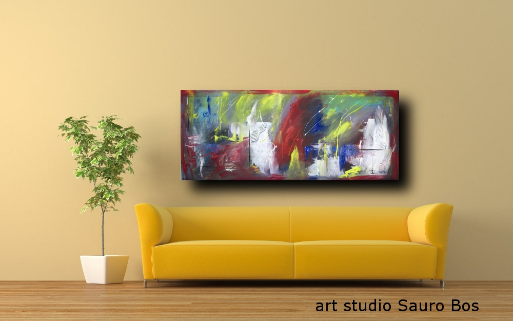 quadri astratti per arredamento moderno 150x65 cm | sauro bos
