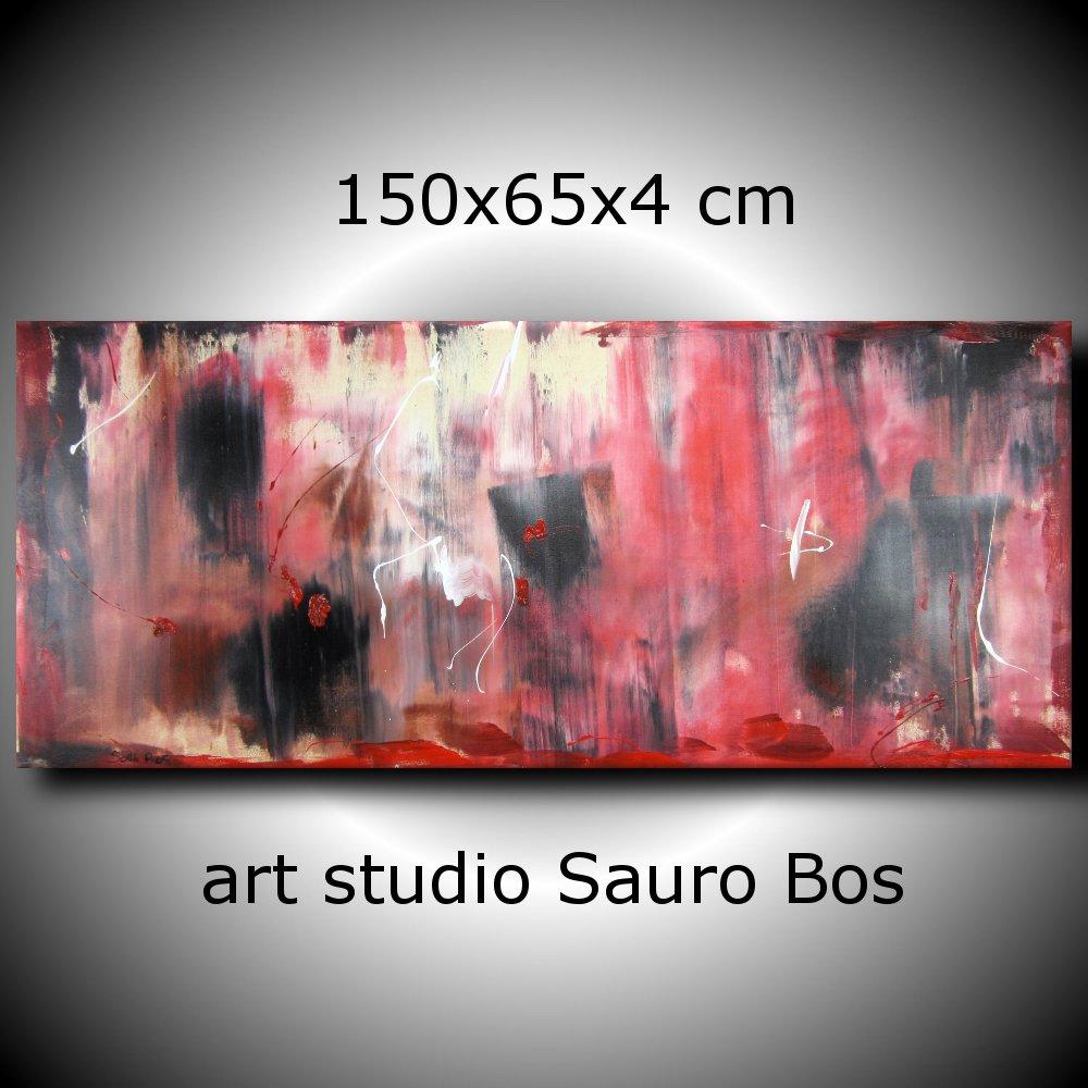 quadri astratti informali per soggiorno rosso e nero | sauro bos