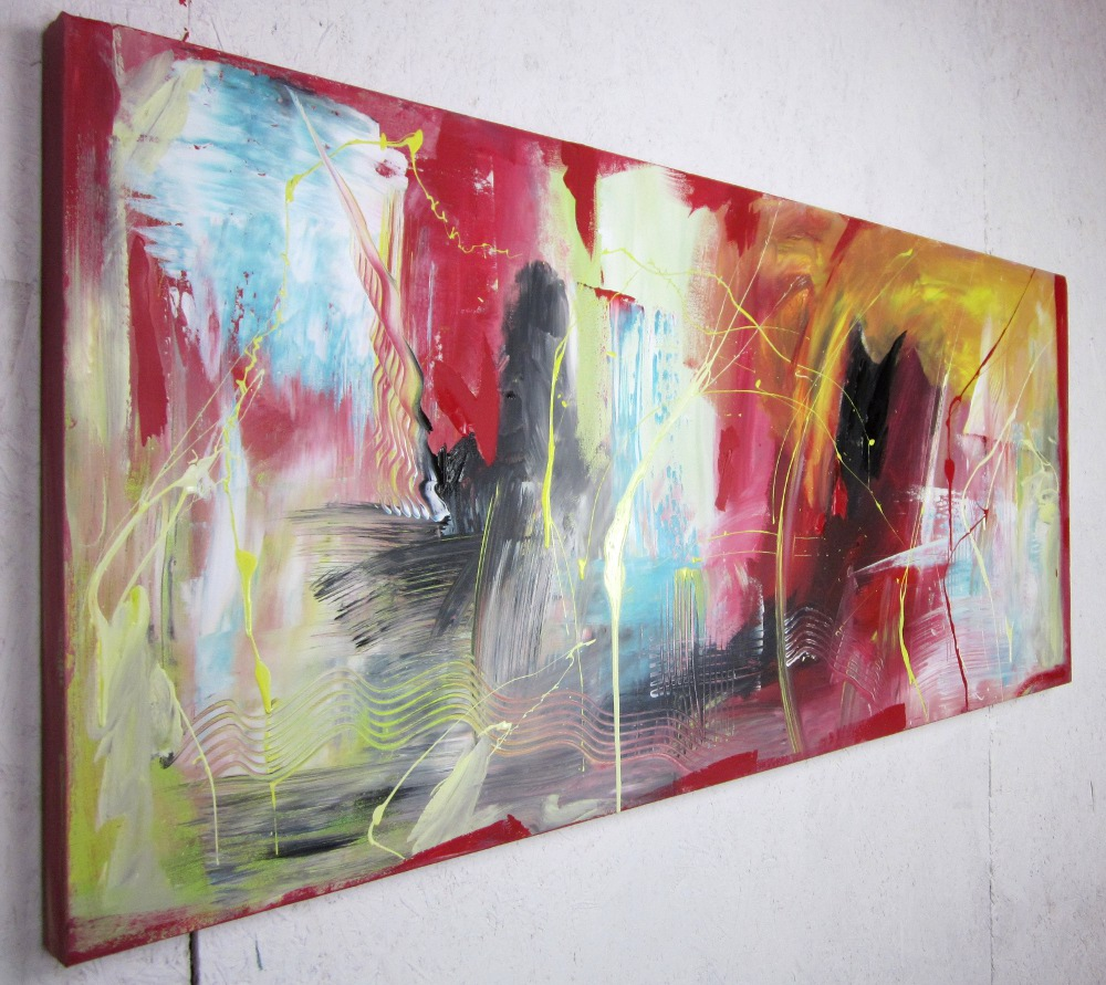 quadri astratti per soggiorno moderno 150x65 | sauro bos