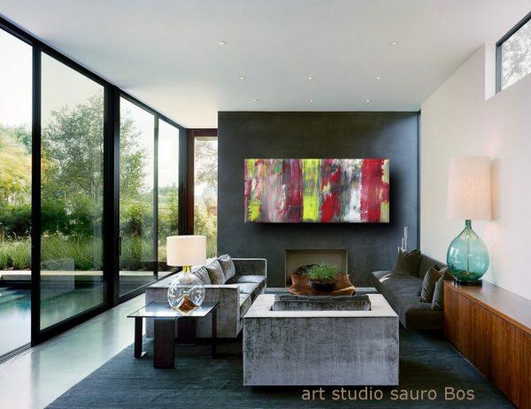 informale a 5 quadri astratti 600x462 - quadri astratti informali  per soggiorno nero rosso