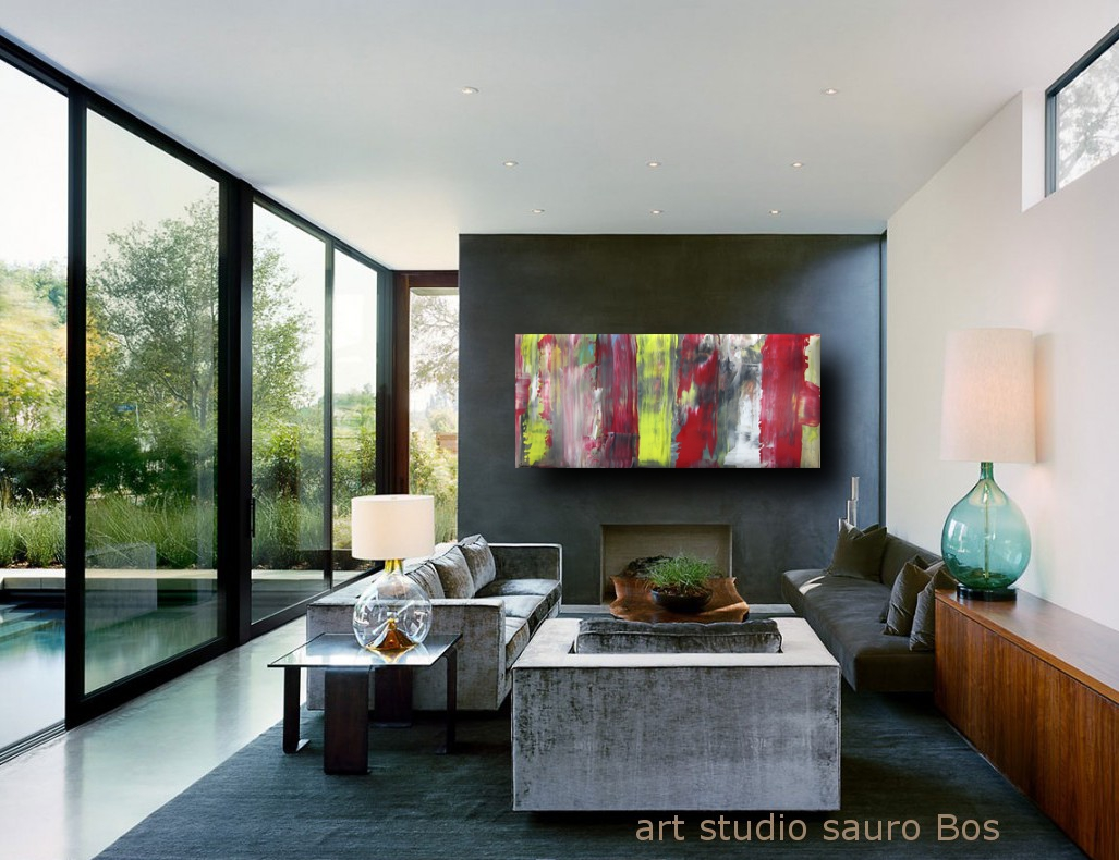 informale a 5 quadri astratti - quadri astratti informali  per soggiorno nero rosso