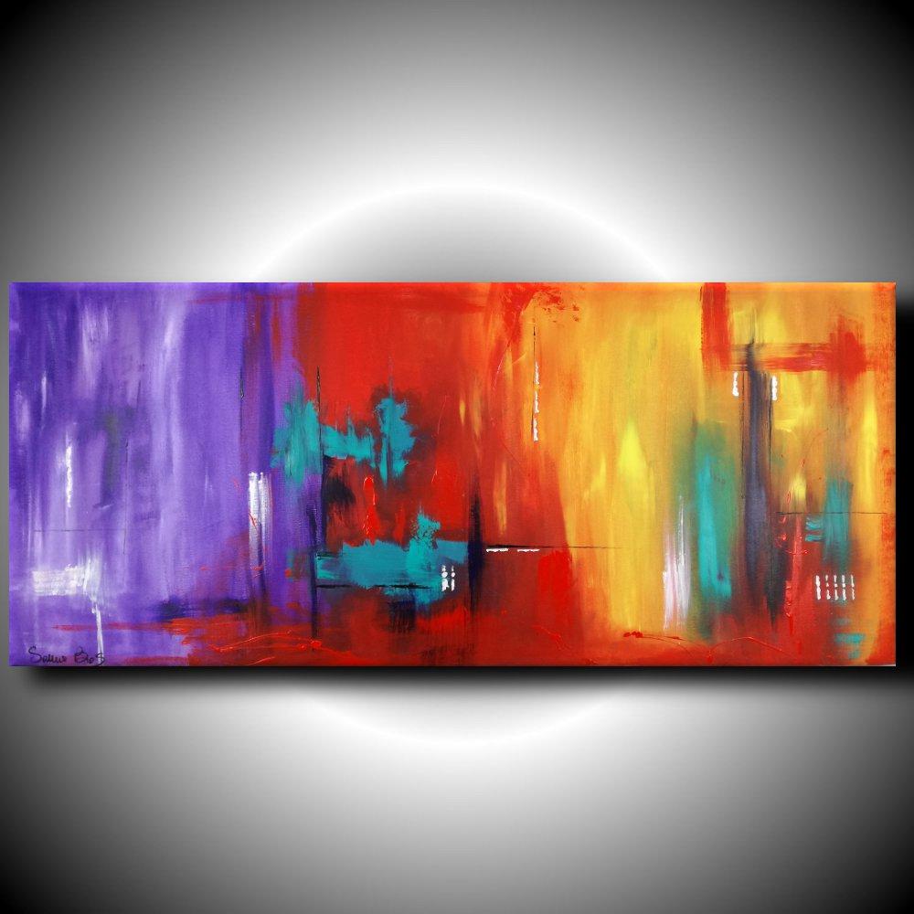 quadri astratti informali per soggiorno viola rosso 150x65 | sauro bos