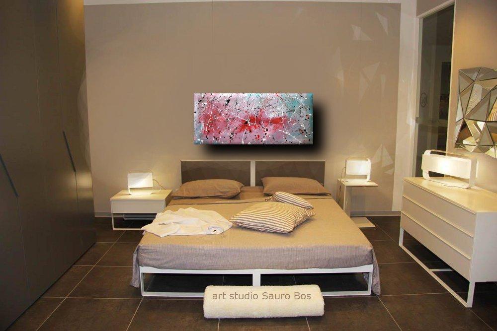 Quadri astratti informali per soggiorno nero rosso bianco sauro bos - Camera da letto marrone ...
