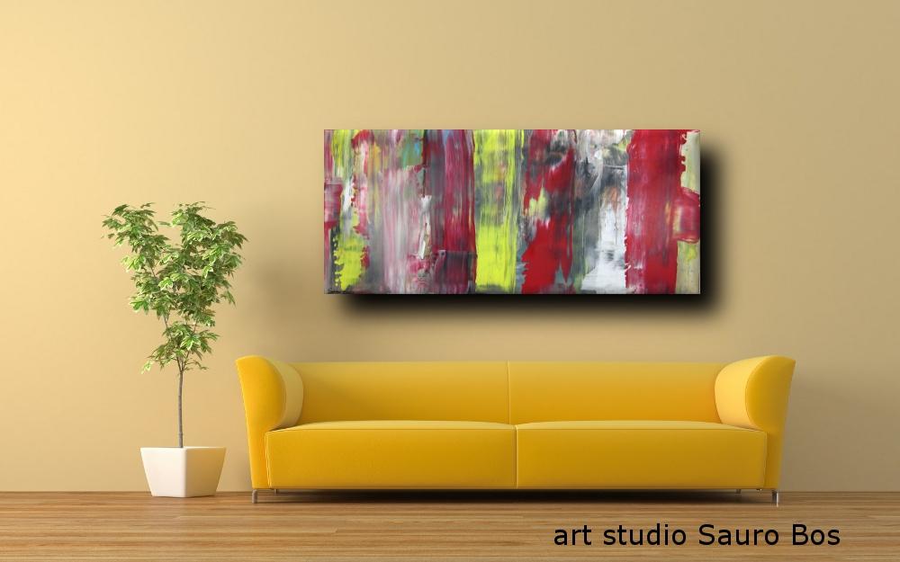 quadri astratti informale a5 - quadri astratti informali  per soggiorno nero rosso