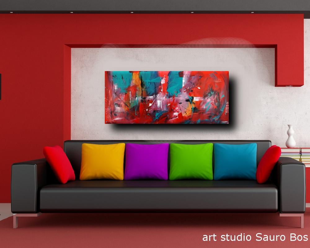 quadri astratti informali per soggiorno nero rosso 150x65 | sauro bos