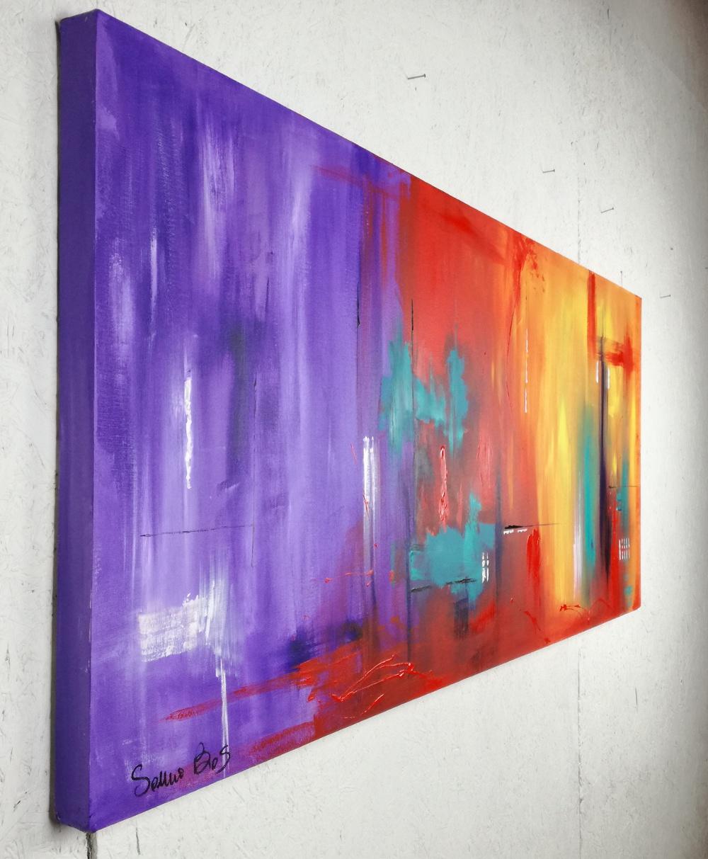 Quadri astratti informali per soggiorno viola rosso 150x65 - Ikea quadri su tela ...