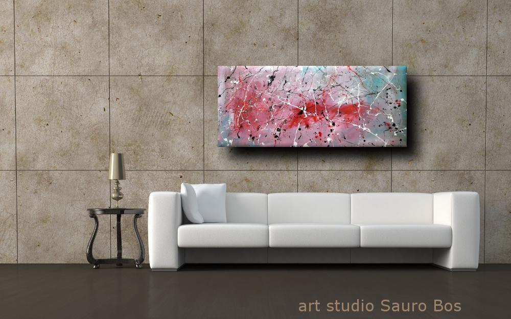 quadri astratti informali per soggiorno nero rosso bianco | sauro bos