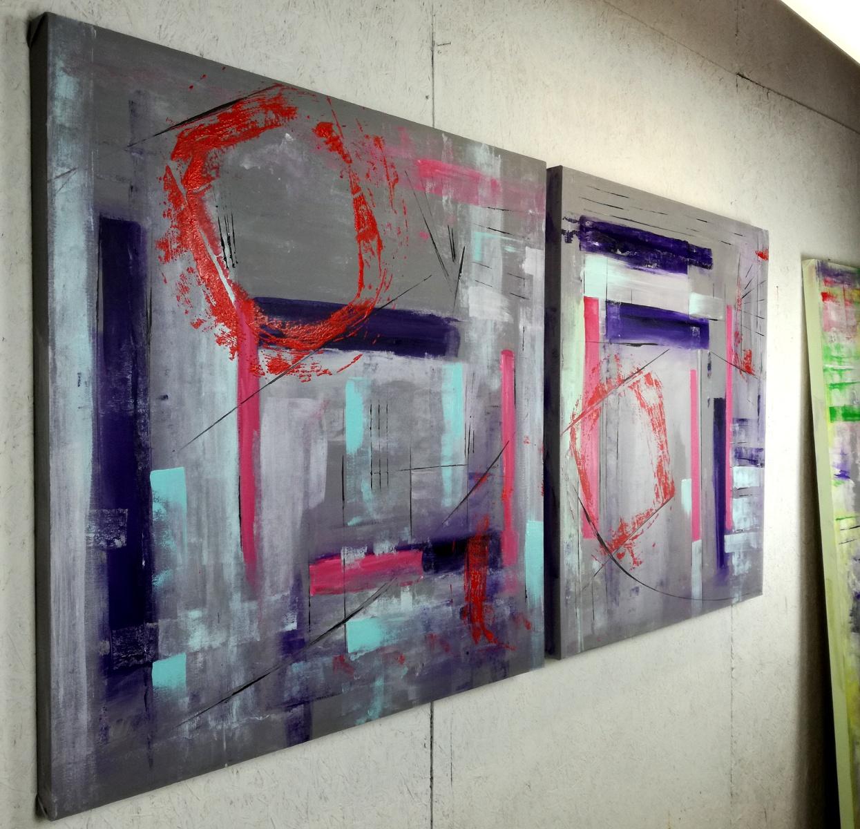 362 quadri astratti due tele.jpg - quadro astratto geometrico due tele 100x100x4 cm