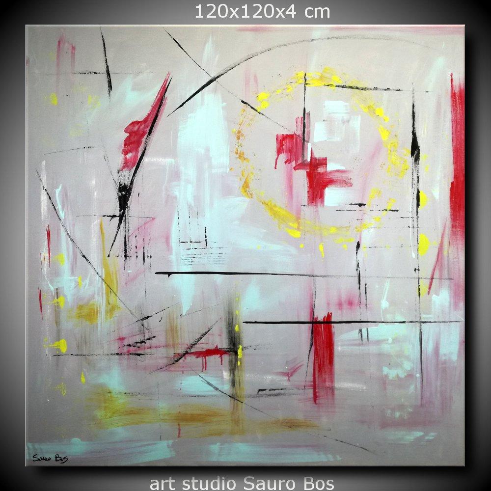 quadri astratti dipinti a mano 120x120 geometrici sauro bos