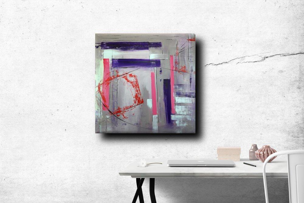a31 quadro astratto decorativo - quadri astratti dipinti a mano 100x100 geometrico