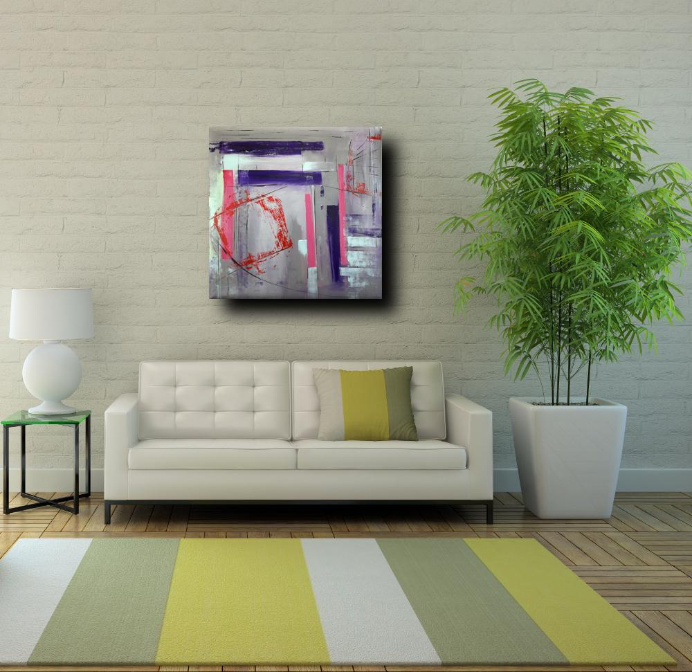 a31 sogg quadri astratti moderni geometrici - quadri astratti dipinti a mano 100x100 geometrico
