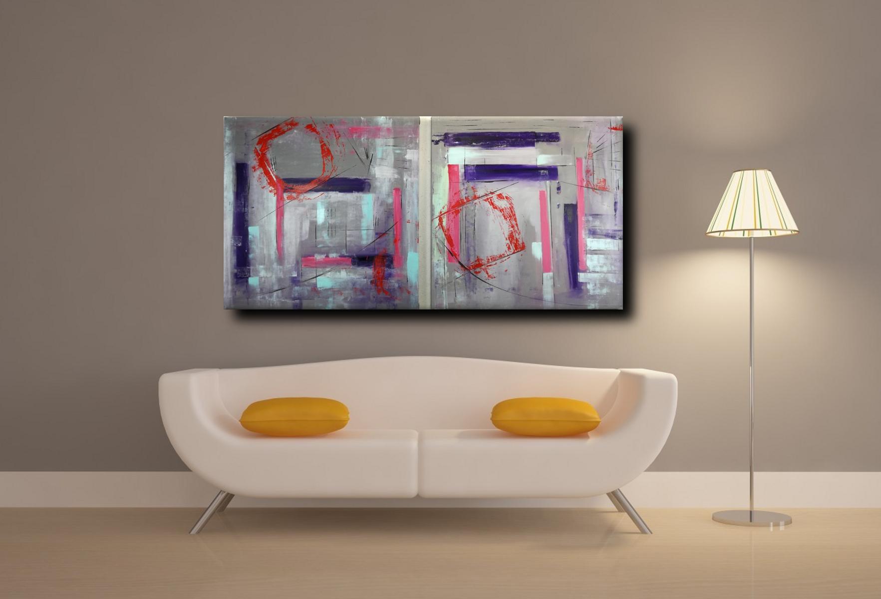 quadro astratto geometrico due tele 100x100x4 cm sauro bos. Black Bedroom Furniture Sets. Home Design Ideas