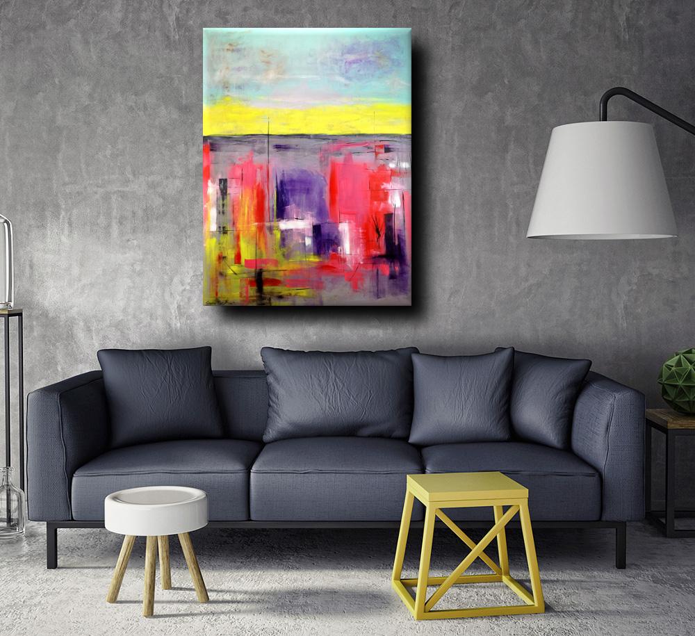 Quadro moderno colorato per soggiorno 170x130 sauro bos for Quadri astratti moderni verticali