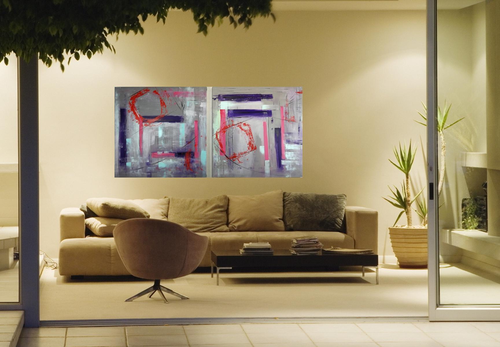 quadri astatti 362.jpg - quadro astratto geometrico due tele 100x100x4 cm