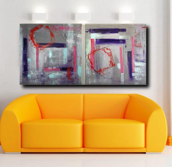 quadri astratti 362artfin 600x583 - quadro astratto geometrico due tele 100x100x4 cm