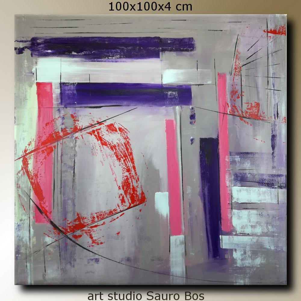 quadri astratti a31 - quadri astratti dipinti a mano 100x100 geometrico