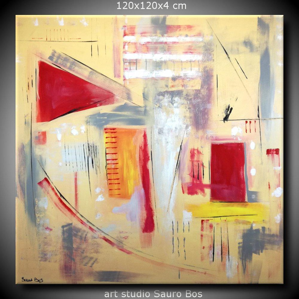 Quadri astratti dipinti a mano 120x120 giallo sauro bos for Quadri astratti dipinti a mano