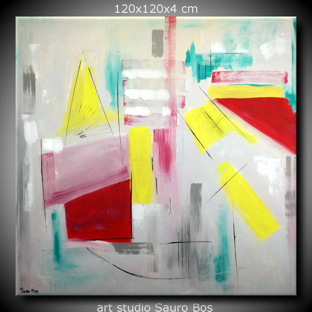 quadri astratti dipinti a mano 120x120 geometrico sauro bos