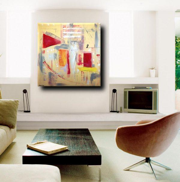 quadri astratti moderni geometrici a23 600x606 - quadri astratti dipinti a mano 120x120 giallo
